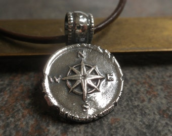 Compass Necklace Wax Seal Pendant Nautical Jewelry