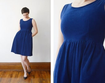 Vintage Blue Corduroy Dress - S
