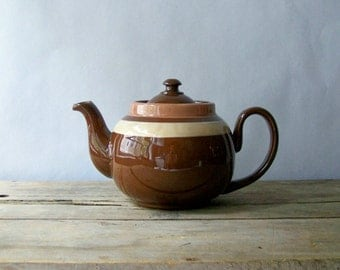 Small Vintage Brown Betty Tea Pot ~ L. B. Made in England
