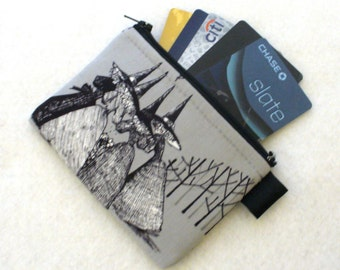 Halloweeen Witch Coven Coin Purse Wallet Business Card Holder Zippered Credit Card Case Ghastlies Fabric Alexander Henry Smoke Gray TGS