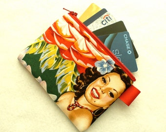 Las Senoritas Beautiful Latina Girl Fabric Business Card Case Coin Purse Fabric Zippered Womens Credit Card Holder Wallet Alexander Henry