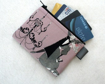 The Ghastlies Coin Purse Wallet Business Card Credit Card Case Zippered Alexander Henry Gray Dancing Couple Mauve Gray Ghastlie Fabric GRM