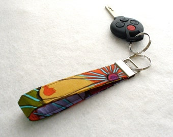Fabric Wristlet Key Fob Kaffe Fassett Fabric Key Ring Keychain Lotus Leaves Autumn Purple Blue Brown Handmade MTO