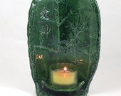 Candle Holder Leaves in Emerald Handmade Ceramic Pottery