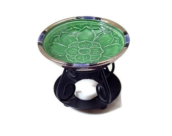ESSENTIAL OIL Lotus DIFFUSER Handmade Ceramic Pottery Raku