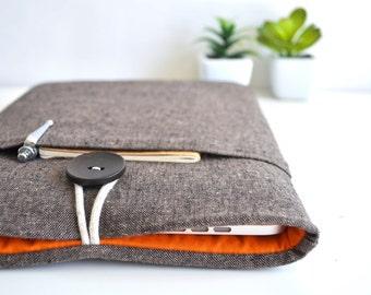 "iPad Pro, Unisex iPad Pro Case, iPad Pro Sleeve, iPad Pro Cover, 12.9"" iPad Case - Brown and Orange"