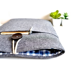 12 inch MacBook Case or 13 inch Laptop Case Cover Padded with Small Gadget Pocket - Gray and Plaid