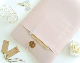"Pink MacBook Case, 12"" MacBook Sleeve, MacBook Retina 13"" MacBook Air Case, MacBook Pro Sleeve - Rose Blush Pink Linen"