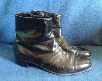 Vintage Florsheim, Men's Black Leather Zip Up Boots, Size 10.5, 10 1/2, Euro, Motorcycle, Hipster Shoes, Austin Powers