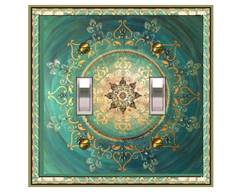 0328x asian aqua mandala decorative switch plates mrs butler choose sizeprice from - Decorative Switch Plates