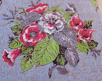 Floral BARKCLOTH panel, printed cotton barkcloth,1940s- 50s fabric, upholstery cotton, vintage decor,retro crafts