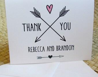 Boho Thank You Card / Wedding Thank You Card / Party Thank You Card / Thank You Note Card / Chalk Board Thank You Card