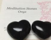 Black Onyx Heart Stone. Gemstone Heart. I Am Centered Talisman. Palm Size.  44mm. One (1)