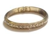 Vintage Whiting Davis Bracelet, Art Nouveau Bangle, Gold Floral Bracelet, Hinged Bangle Bracelet, Whiting Davis Bangle, Vintage Gold Bangle