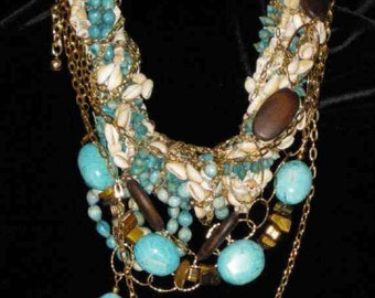 Big Bold Chunky Turquoise Tigers Eye Statement Necklace