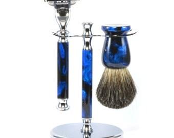 Shaving Set - Razor Handle - Blue and Black Acrylic Handles, Badger Brush, Mach 3 Razor and Stand Shaving Set - Handmade
