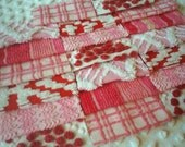 Vintage Chenille Bedspread Squares in Pinks and Reds