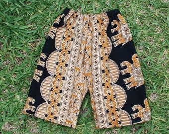 Hippie Kids pants -size 6-9 mth.-Black Tan Elephant -Boys or Girls- Read measurements