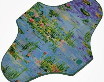 Moderate Hemp Core- Lily Pond Reusable Cloth Maxi Pad- WindPro Fleece- 10 Inches (25.5 cm)