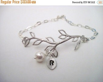 Bridesmaid Jewelry Set of 7 Silver Vine Pearl and Initial Bracelets