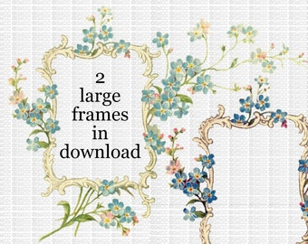 Instant Digital Download VIntage Frame Labels Floral Flowers Flourish Forget Me Nots 2 Large Transparent PNG
