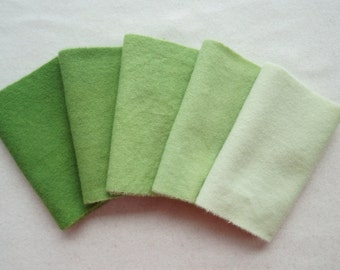 Spring Green Hand Dyed Felted Wool Fabric - Rug Hooking - Quilting - Sewing - Wool Applique by Quilting Acres