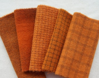 """Orange Hand Dyed Felted Wool Fabric 5"""" x 5"""" Wool Charm Pack of 5 Quilting, Sewing, Wool Applique"""