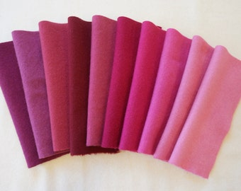 Wine - Magenta - Pink - Fuchsia -Hand Dyed Felted Wool Fabrics in a Wonderful Combination
