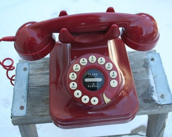 1980s Fantastic Red Push Button Phone Made by Grand For Pottery Barn