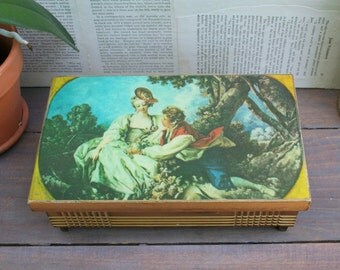 Beautiful Vintage Victorian Wood Decoupaged Jewelry Box