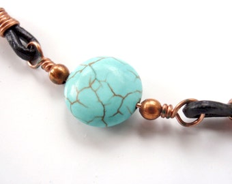 Men's or Woman's Copper and Turquoise Howlite Choker Leather Necklace fully Adjustable, Unisex