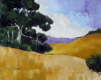 ORIGINAL Impressionist Painting CALIFORNIA Plein Air Landscape Santa Maria Meadows 11x14 Lynne French