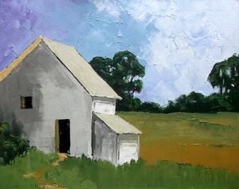 Impressionist Plein Air Painting CALIFORNIA Farm Barn Landscape Art 16x20 Lynne French