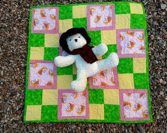 Baby Quilt, Pink Yellow Green Baby Girl, Baby Bedding, Dolls and Moons, Quilted Blanket, Crib Bedding, Baby Blanket, Quiltsy Handmade
