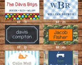 New Designs - 20 Rectangle Personalized Boy Enclosure Cards or Gift Stickers - Choose ONE DESIGN