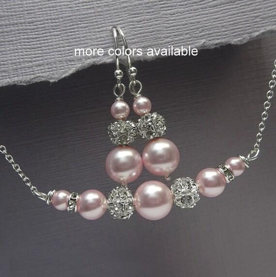 Light pink bridesmaid jewelry light pink bridal jewelry set for Pink wedding jewelry sets