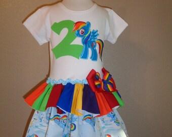 Rainbow Pony Ruffled Dress