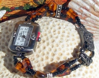 ON SALE 50% OFF Gunmetal Watch, Tiger Eye and Glass Beads Jewelry     Sold as is 7 inches