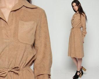 70s Boho Dress Midi Bohemian 1970s Hippie FAUX SUEDE Velour High Waist Vintage Long Sleeve Tan Retro Collar Medium Large