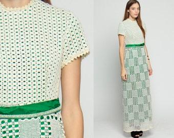 Lace Maxi Dress 70s Crochet Boho Cream Bohemian Party Green Mod CUT OUT 60s Hippie Vintage High Waist Short Sleeve Cutout Small Medium