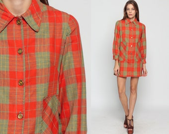 Mod Mini Dress 60s Shift Mini PLAID Button Up 70s Long Sleeve School Girl Vintage Sixties Twiggy Lolita Pocket Collar Red Large