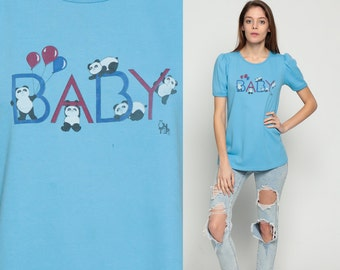 Panda T Shirt Bear Shirt BABY MATERNITY Shirt 80s Graphic Tee Puff Sleeve Animal Print Tshirt Kawaii 1980s Vintage Baby Blue Medium Large