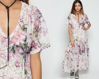 Long LACE Dress Sheer 90s Maxi Grunge Floral Boho Deep V Neck Plunging Neckline 1990s Vintage Bohemian White Lavender Small Medium Large xl