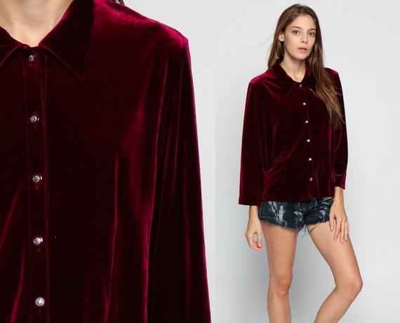 Red velvet shirt 90s grunge blouse button up top keyhole open for Red velvet button up shirt