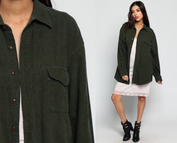 Military shirt army shirt jacket olive green 70s commando for Olive green oxford shirt