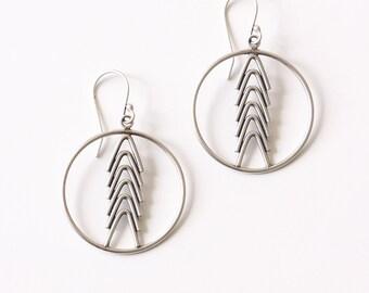 Arrowhead hoop dangles - geometric arrow shape round hoop recycled sterling silver earrings