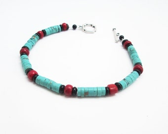 Bracelet: turquoise, coral and onyx - ! FREE SHIPPING ! - matrix turquoise heishe + red coral + black onyx - pulsera de turquesa y coral