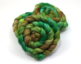 Merino Wool/ Bamboo/ Silk Roving (Combed Top) - Handpainted Roving for Spinning