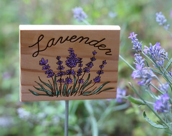 Cedar Garden Sign- Lavender Garden Sign- Wooden Natural Garden Sign