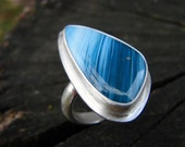 Swedish Blue Slag Silver Modern Cocktail Ring